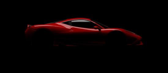 Sportwagen Designstudie im Studiobeleuchtet mit einem einzigen Blitz