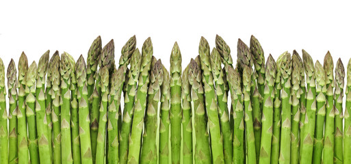 Wall Mural - green raw asparagus isolated on white background
