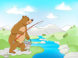 bear with fish and fishing rod, river and mountains landscape. vector cartoon illustration