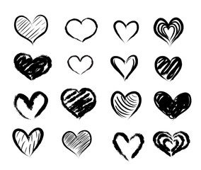 Set of hand drawn red abstract hearts. vector