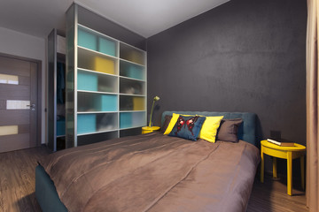 Modern interior of a private bedroom in solid colors