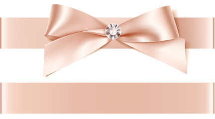 Beautiful bow with diamond for invitation design or wedding decoration. Vector bow with horizontal ribbon isolated on white