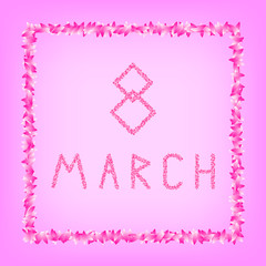 8 March Women's Day. holiday poster, banner. square petals. pink background. vector illustration