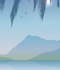 Vector landscape with mountain, lake, palm leaf and two birds.