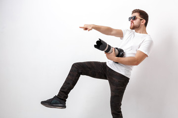 young professional photographer in shirt ready for photography a