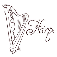hand drawn line abstract harp. vector illustration