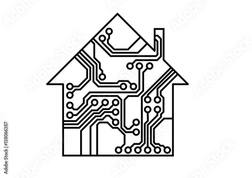 u0026quot smart household vector  simple printed circuit board