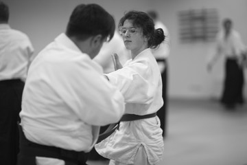 Sparring partners when developing techniques of Aikido in training