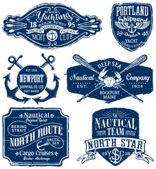 Vintage vector nautical labels