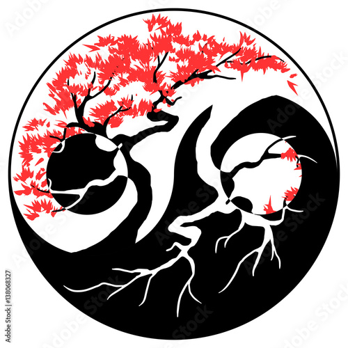 Black And White Bonsai Tree In The Yin Yang Symbol Stock Image And