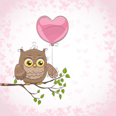 Cute little owl with heart shape balloon. Hand drawn cartoon vector illustration. Can be used as background for prints, celebration greetings, invitation cards.