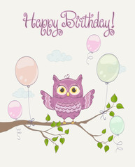 Little cute pink owl with open wings on a branch with balloons. Happy Birthday celebration greeting. vector illustration