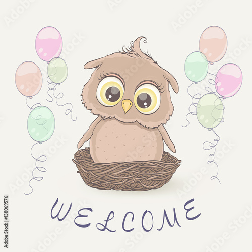 Little owl in the nest and flying balloons congratulation little owl in the nest and flying balloons congratulation greeting on baby arrival newborn stopboris Choice Image