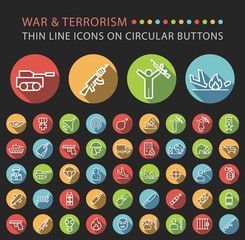 Set of 45 Elegant Universal White War and Terrorism Minimalistic Thin Line Icons on Circular Colored Buttons on Black Background