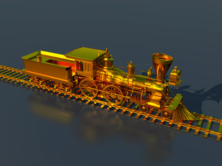 Golden American steam locomotive from the 1850s