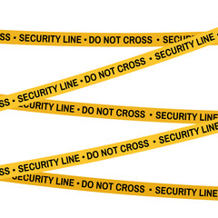 Crime scene security line yellow tape, police line Do Not Cross tape. Cartoon flat-style illustration White background.