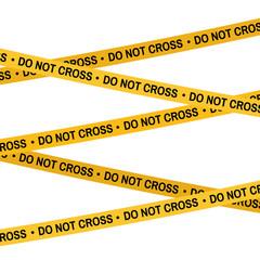 Crime scene yellow tape, police line Do Not Cross tape. Cartoon flat-style illustration