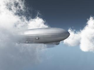 Zeppelin zwischen den Wolken