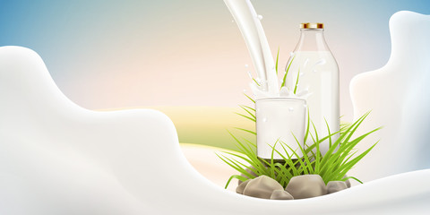 Fresh milk vector background for label design or advertising needs