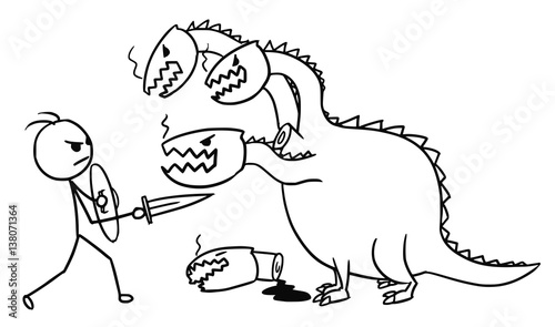 Stickman Cartoon Of Man Fighting With Dragon Stock Image And