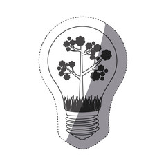 grayscale contour sticker with bulb light and floral tree vector illustration