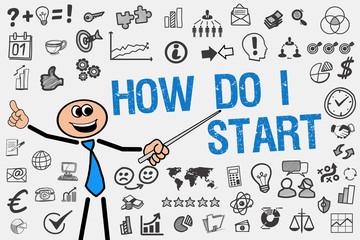 Obraz How Do I Start / Mann mit Symbole - fototapety do salonu