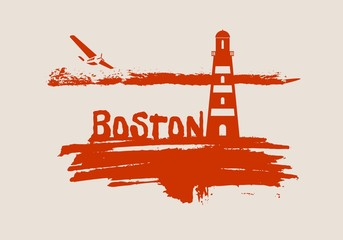 Lighthouse on brush stroke seashore. Clouds line with retro airplane icon. Vector illustration. Boston city name text.