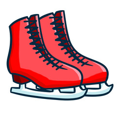 Funny red pink skating shoes - vector.