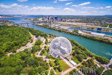 Aerial view of Montreal Biosphere and Saint Lawrence river in Montreal, Quebec, Canada.