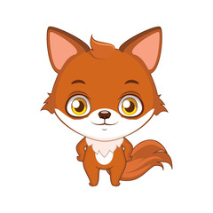 Cute stylized cartoon fox illustration ( use for stickers, fun scenes, decoration etc. )