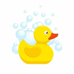 Rubber duck bath toy with bubbles in flat style isolated on white background. Vector illustration