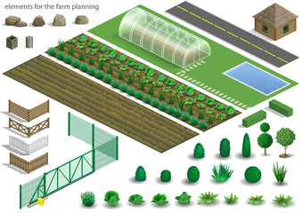 Set of elements for a project or scheme farm. Buildings, fences and garden with plants, vegetables. Vector graphics. Architectural isometrics