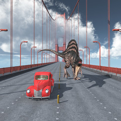 Dinosaurier auf der Golden Gate Bridge in San Francisco