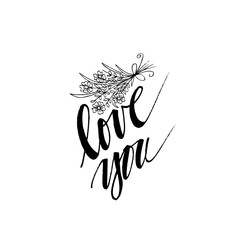 Hand drawn flowers with love you lettering