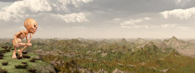 Zwerg vor einer Landschaft