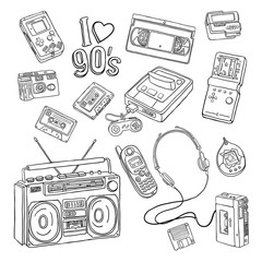 Sketchy set with nineties gadgets isolated on white background.