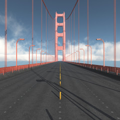 Fahrbahn der Golden Gate Bridge in San Francisco