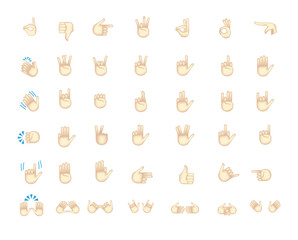 Set of hand emoticon vector isolated on white background.