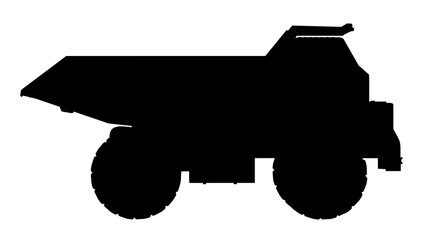Silhouette of a dump truck
