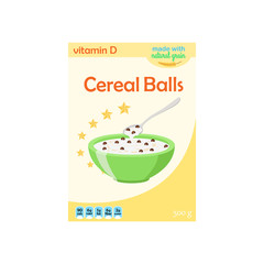 Cereal chocolate balls in box. Milk, oatmeal breakfast. Flat style.