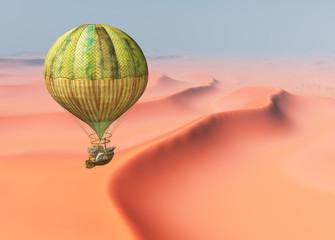 Fantasie Heißluftballon über einer Sandwüste