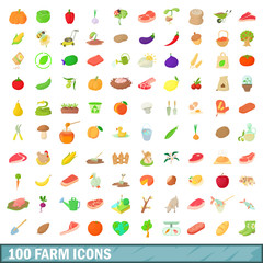 100 farm icons set, cartoon style