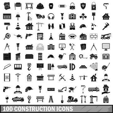 100 construction icons set in simple style