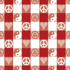 Peace Plaid Pattern in Red