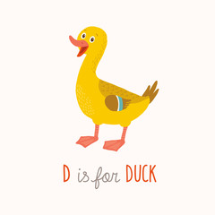 D is for Duck. Cartoon clipart eps 10 illustration isolated on white.