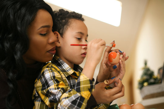 African American woman with her son.