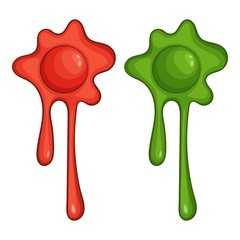 Red and green slime spot icon, cartoon style