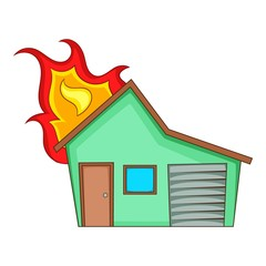 House on fire icon, cartoon style