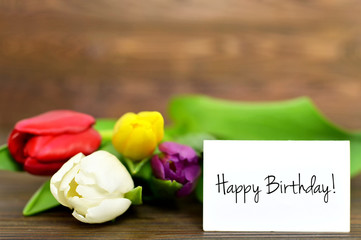 Happy Birthday card and tulips