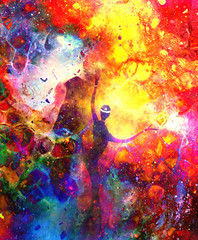 Spiritual beings in the universe. Painting and graphic effect.